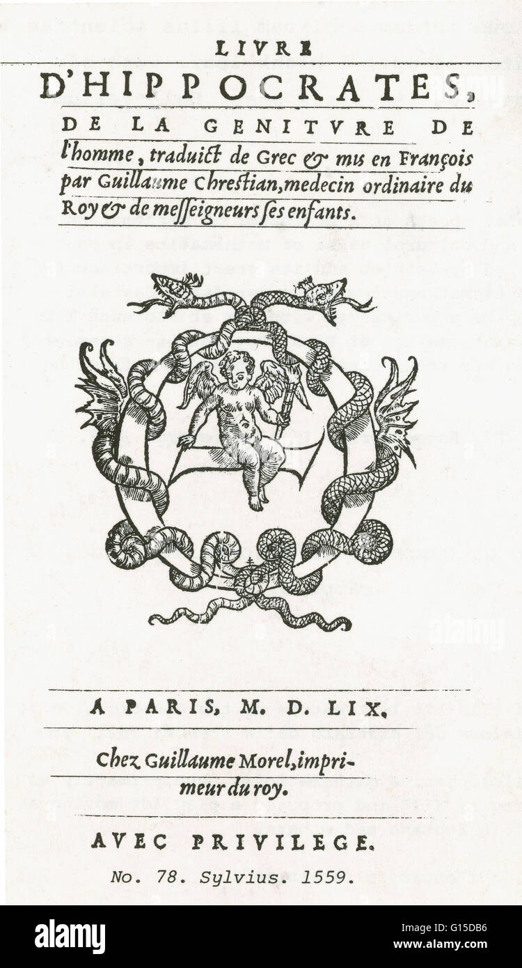 Title page of a very early edition of the Hippocratic Corpus, a collection of around seventy early medical works - Stock Image