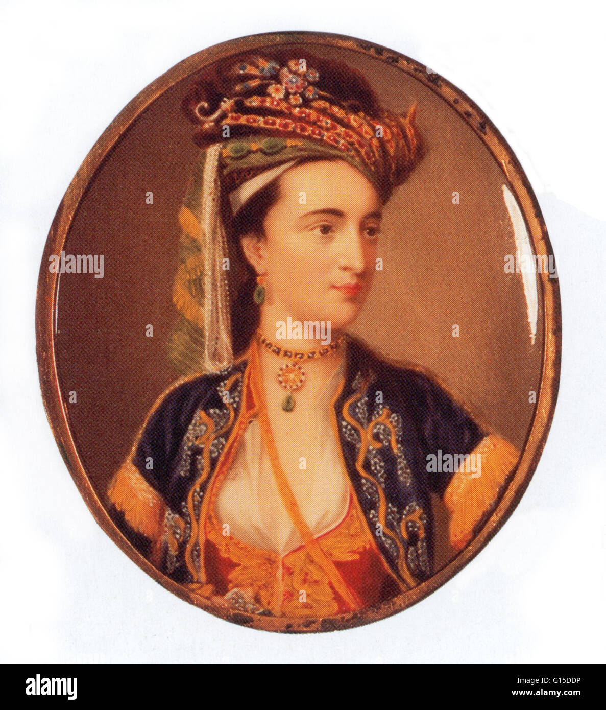 Lady Mary Wortley Montagu (1689 - 1762), English aristocrat and writer who was an early proponent of the benefits - Stock Image
