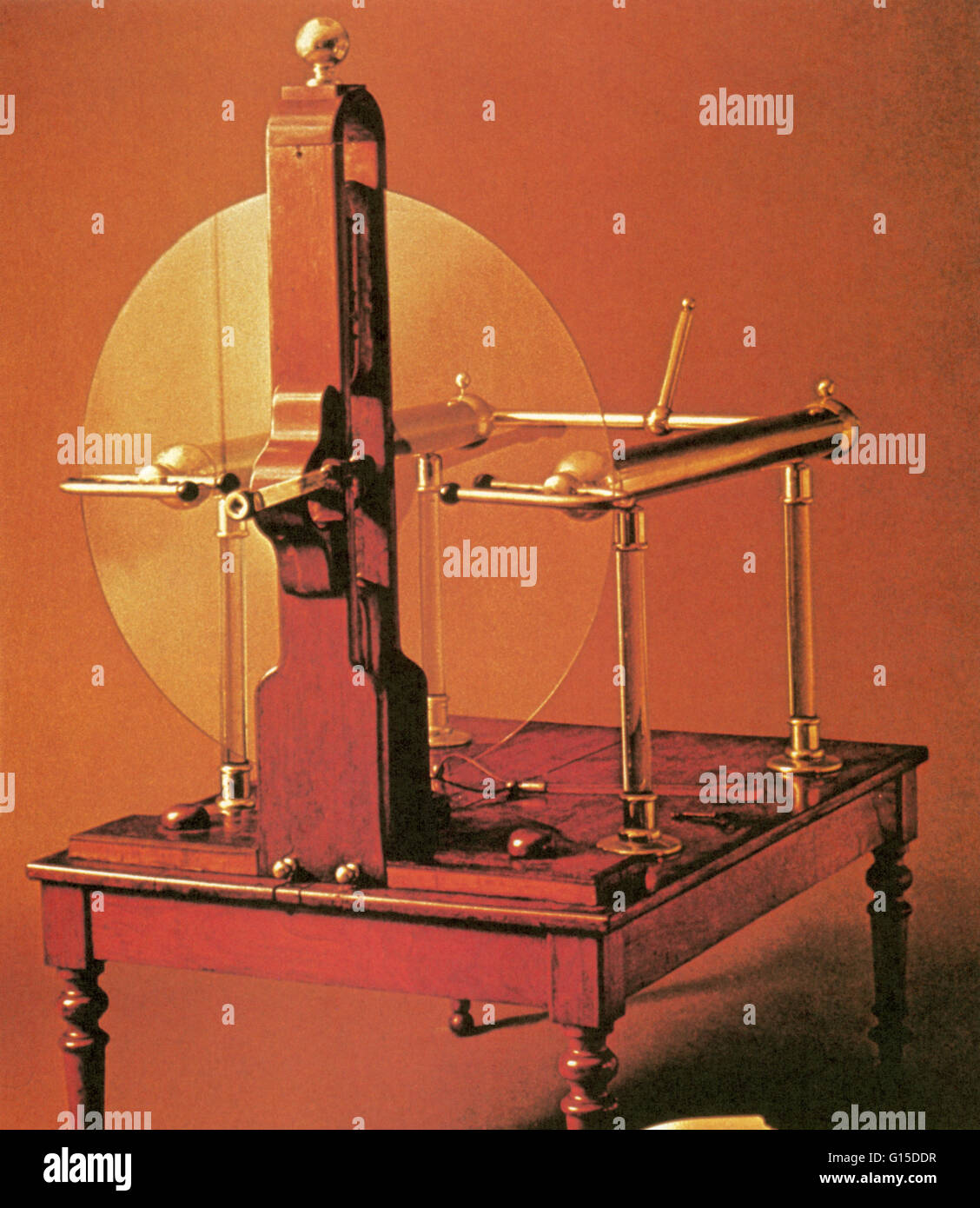18th century Ramsden-type plate electrostatic generator. Stock Photo