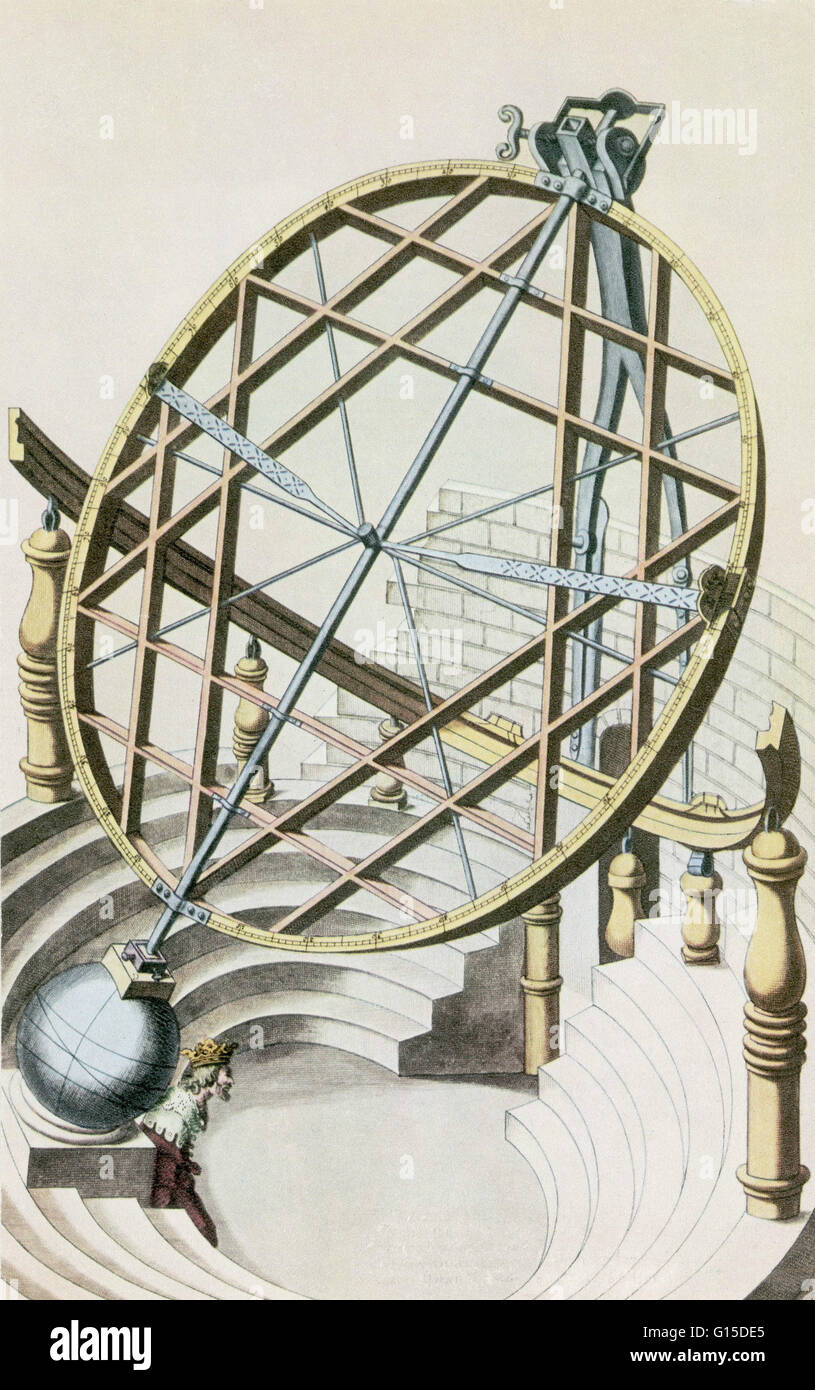 Illustration of an equatorial armillary sphere, containing one and a half circles, in Tycho Brahe's observatory. - Stock Image