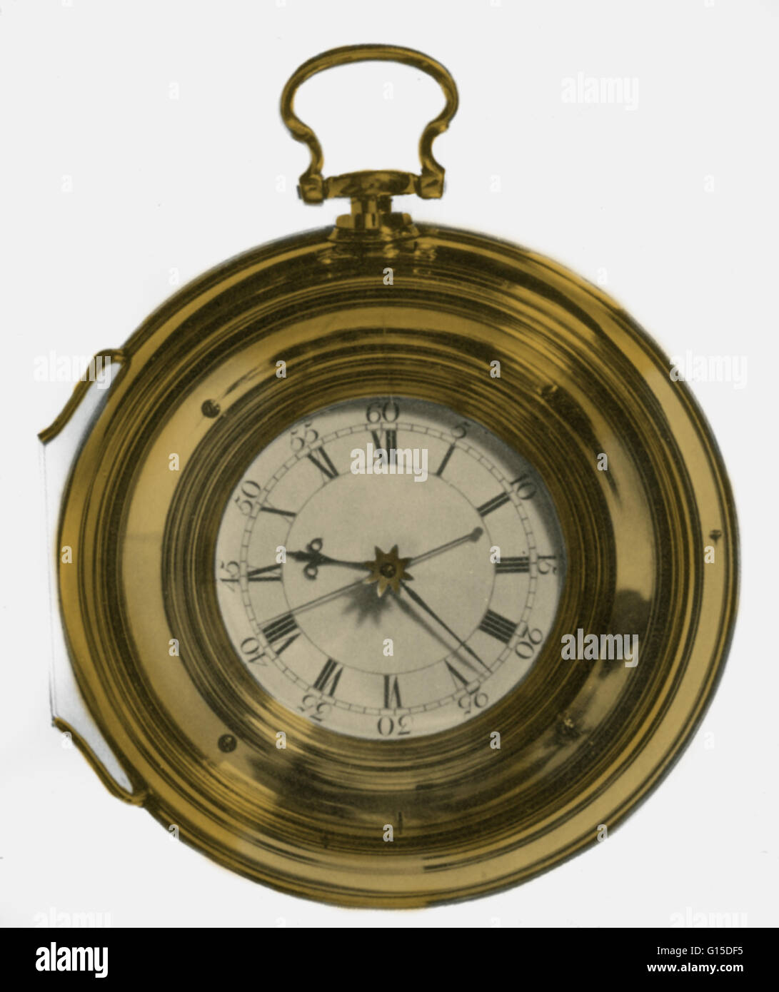 Harrison's last marine timepiece, H.5, which he made under protest. It is like H.4 but plainer. The gold star - Stock Image