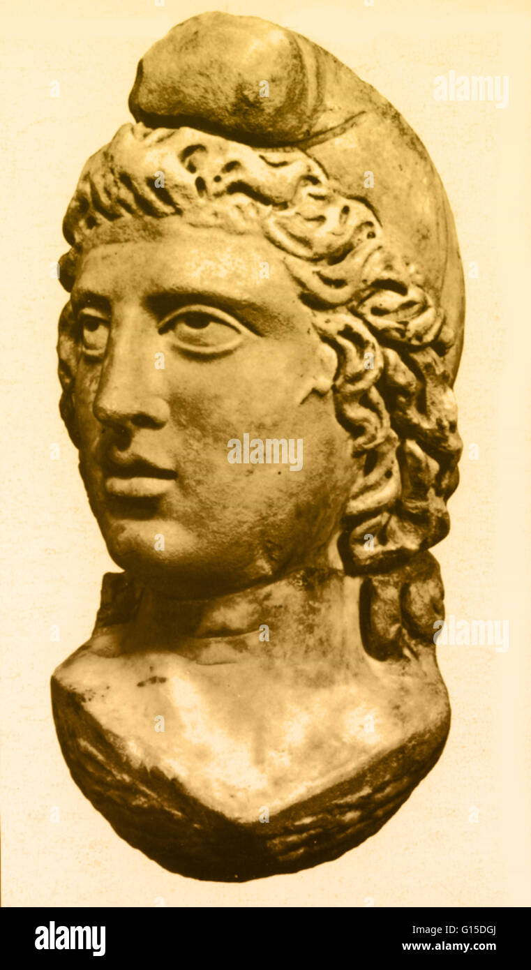 Bust of Mithras, circa 200 AD, found in London. Mithra is the Zoroastrian divinity (yazata) of covenant and oath. - Stock Image