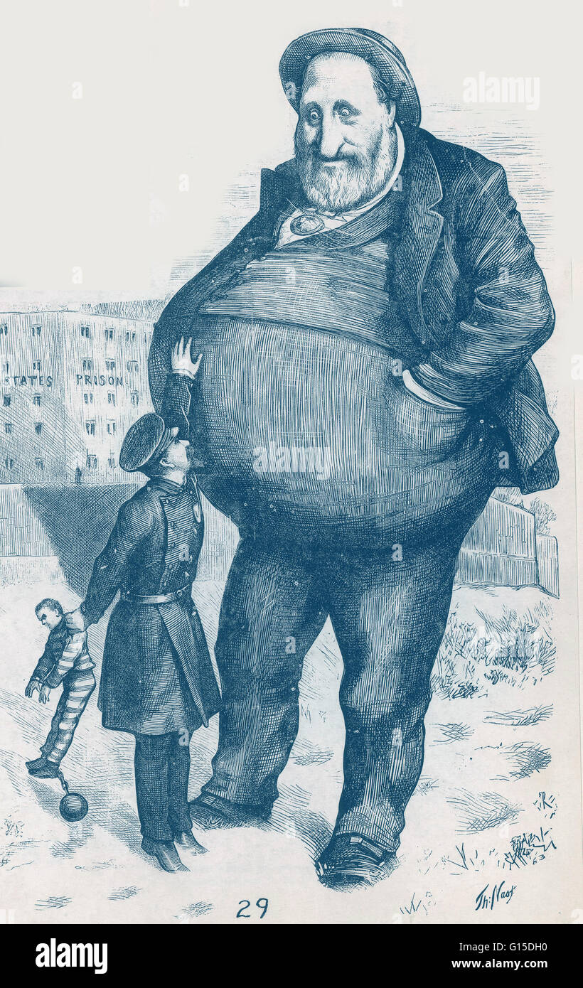 "Satirical political cartoon of William Magear Tweed. ""Can the law reach him? The dwarf and the giant thief."" Stock Photo"