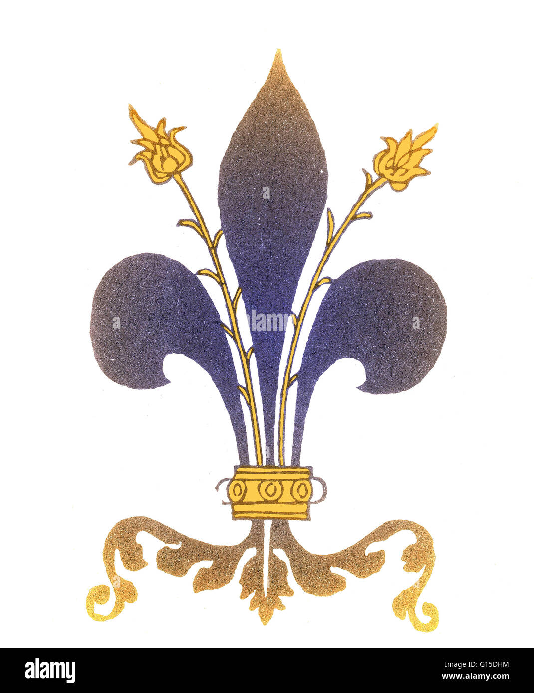 Fleur-de-Lis, Emblem of France, from a 15th century Engraving. - Stock Image