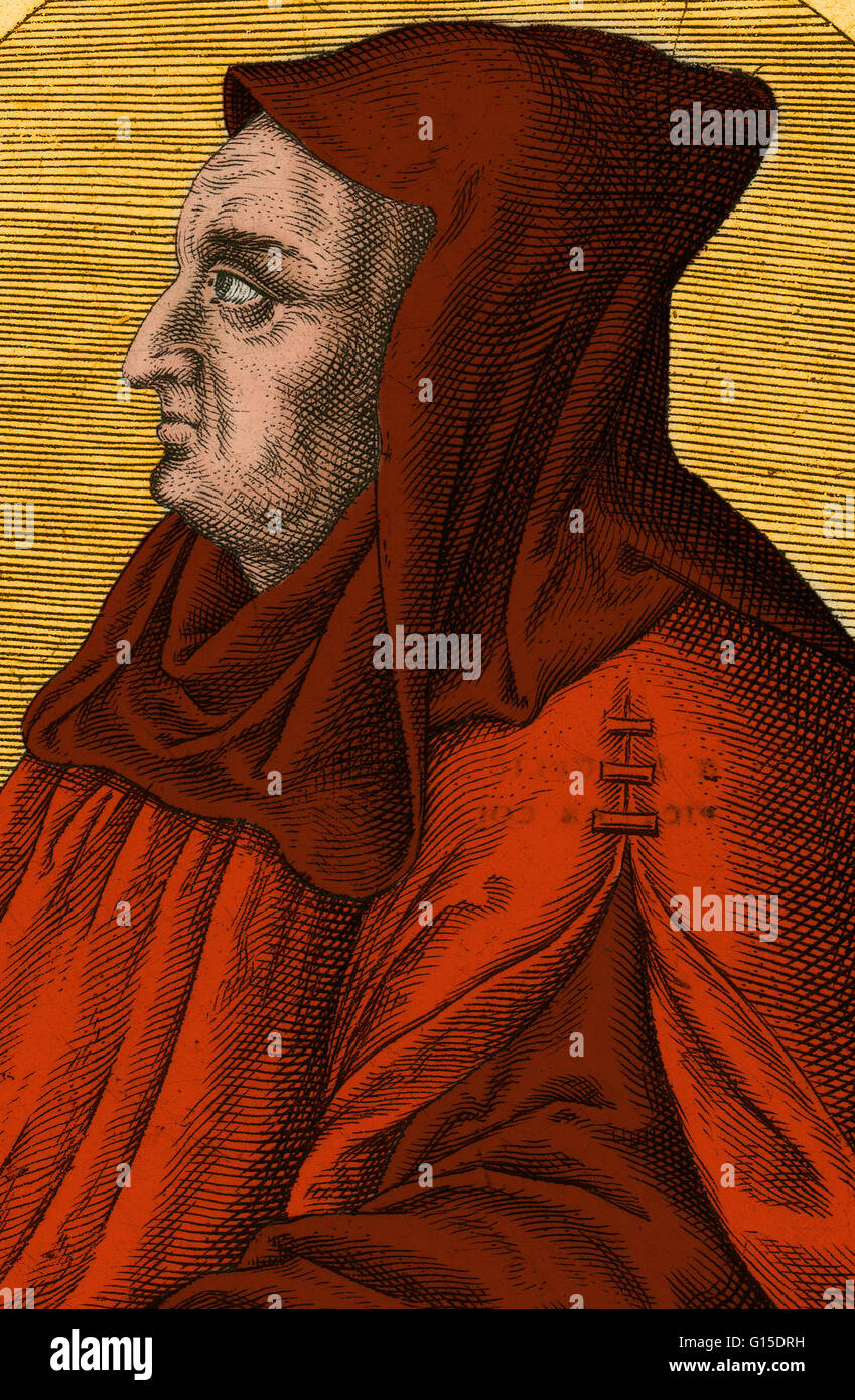Albertus Magnus (1193/1206-1280) was a Dominican friar and bishop who believed in the peaceful coexistence of science - Stock Image