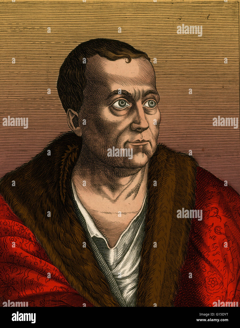 Giovanni Pierio Valeriano was an Italian Renaissance humanist, favored by the Medici. Among his books, De Infelicitate - Stock Image