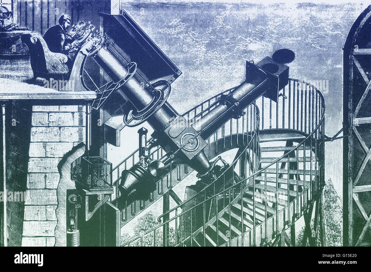 The great equatorial telescope of the Paris observatory. 1883. - Stock Image