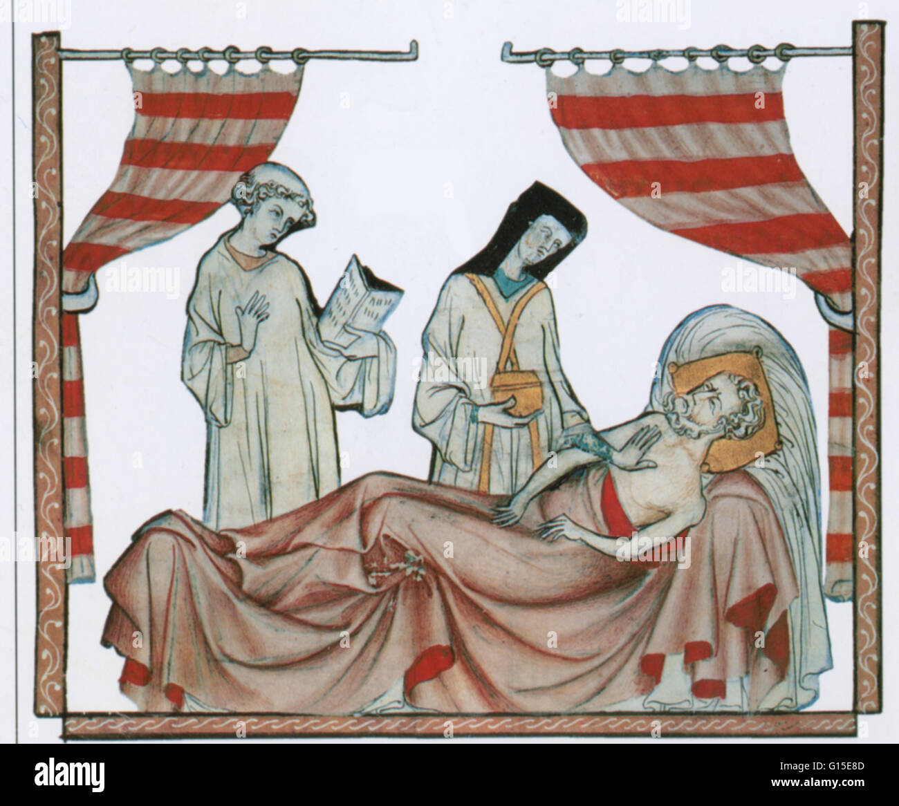 Priest anoints a dying man with holy oil. People in the middle ages believed it was important to die properly. They - Stock Image