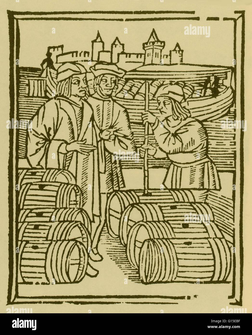 Scenes of a trade: wine merchant. Woodcuts, 1500/01, from Les Ordonnances de paris. - Stock Image