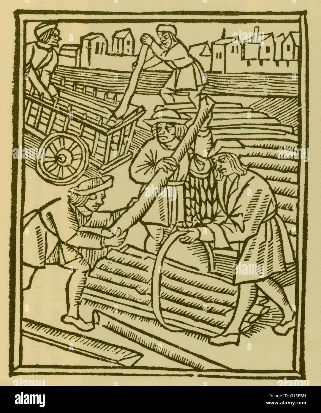 Scenes from a trade: timber haulers. Woodcuts, 1500/01, from Les Ordonnances de paris. - Stock Image