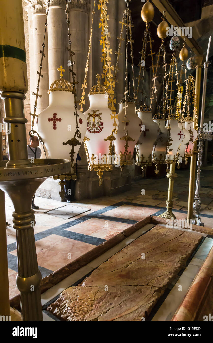 Stone of Unction, Church of the Holy Sepulchre, Old City, Jerusalem, UNESCO World Heritage Site, Israel, Middle - Stock Image