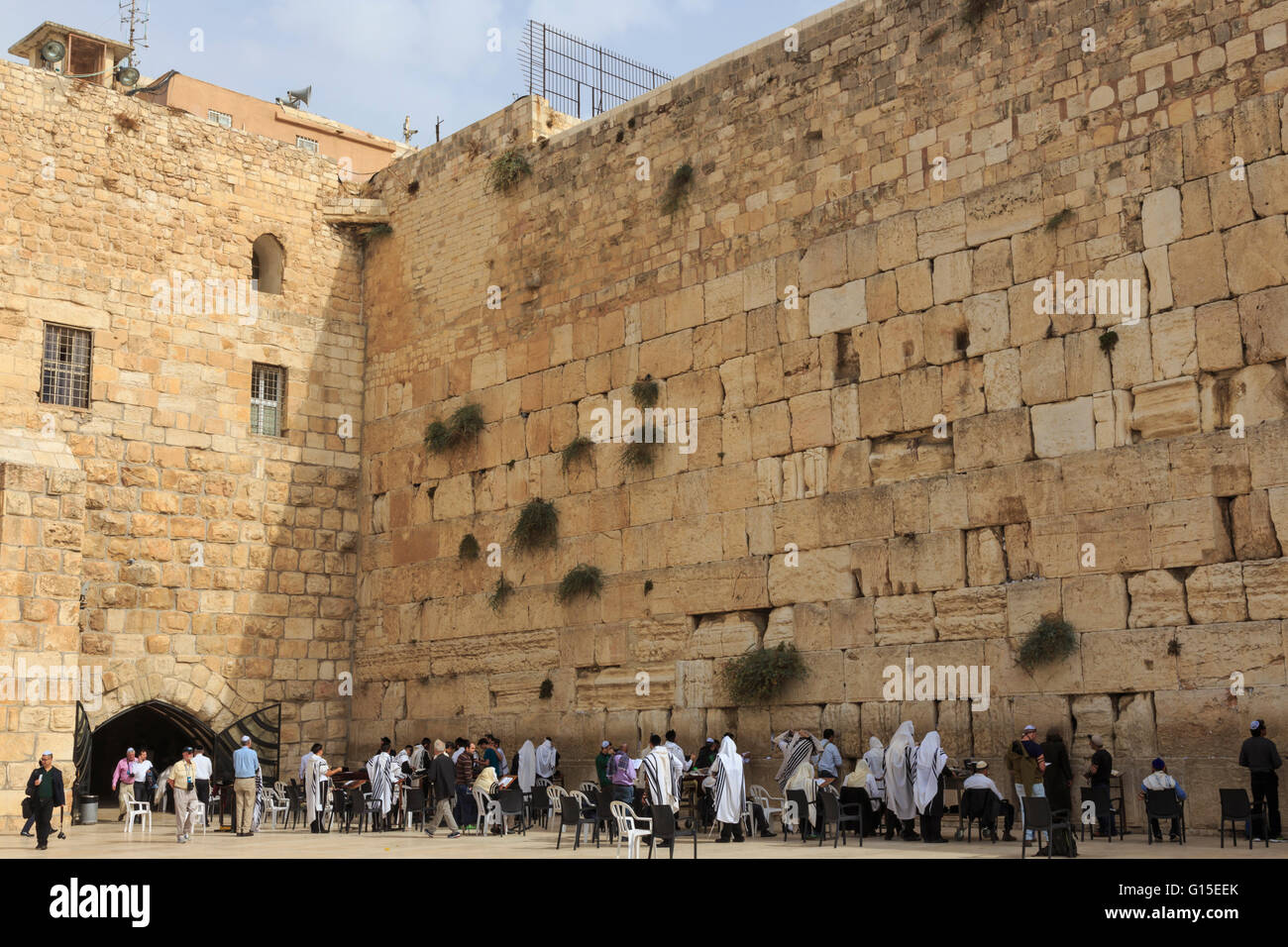 Men's Section, Western (Wailing) Wall, Temple Mount, Old City, Jerusalem, UNESCO World Heritage Site, Israel, - Stock Image