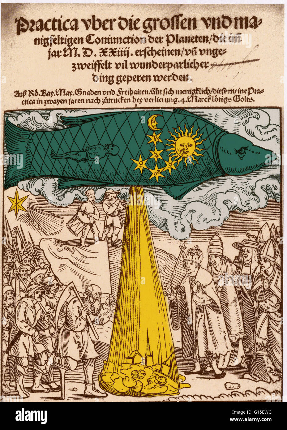 The predicted floods of 1524, early 16th century. A great fish is the sky representing Pisces. A flood pours from - Stock Image