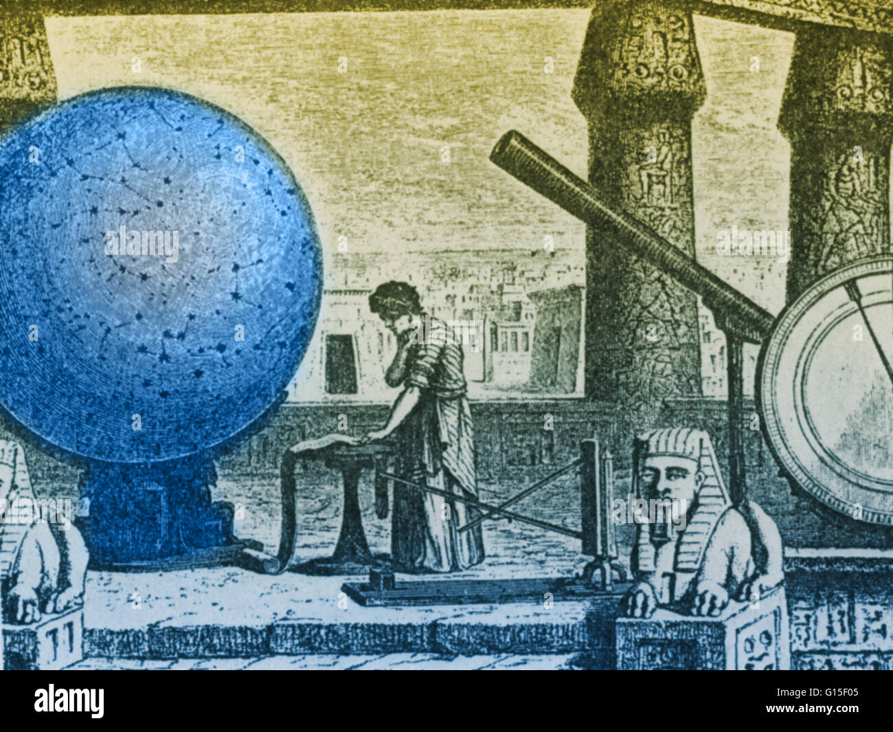Claudius Ptolemy (AD c100-170), Greek-Egyptian astronomer, geographer and mathematician at his observatory in Alexandria, Stock Photo