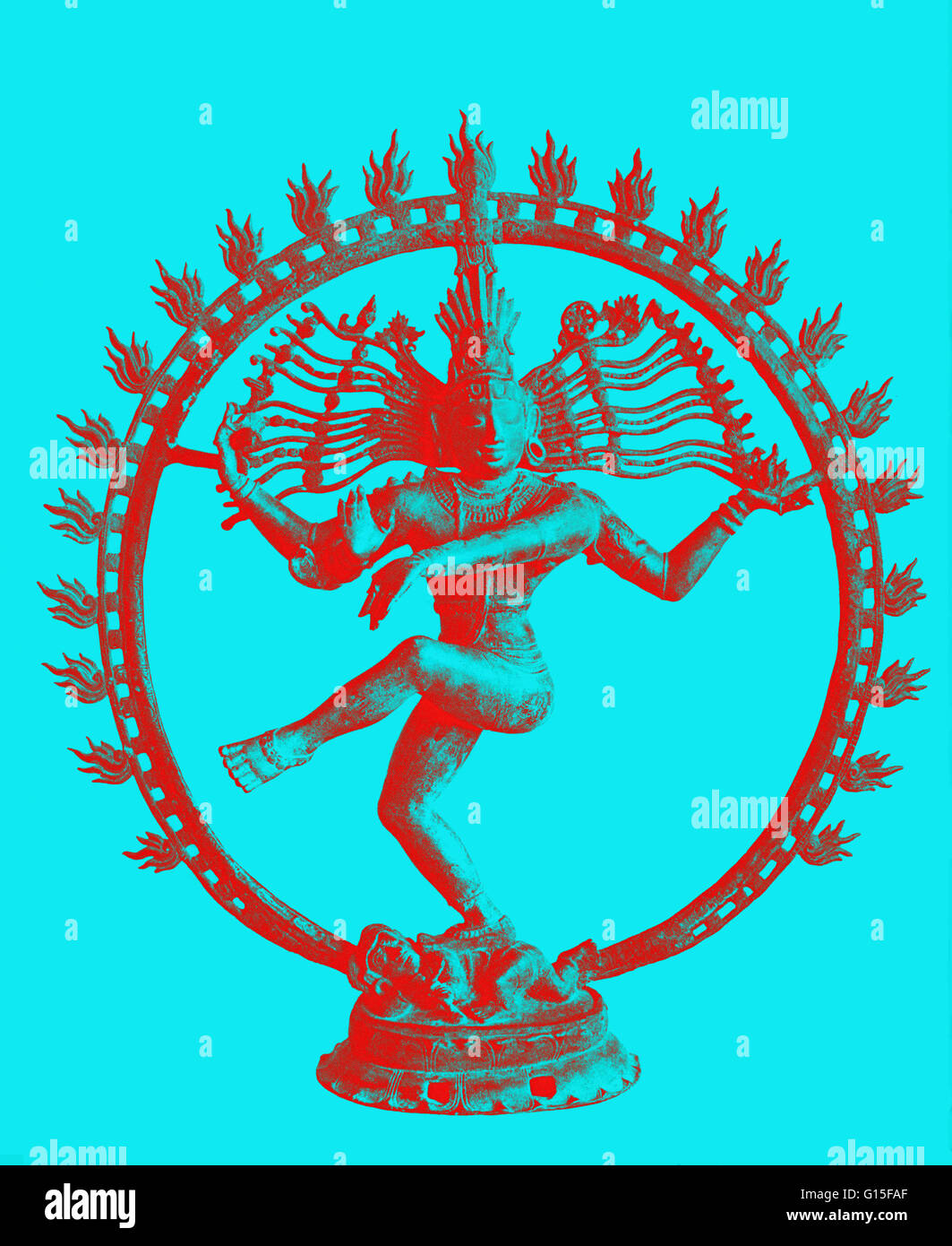 Shiva dancing in circle of flames. 11th cen. Bronze. Shiva is the third member of the Hindu Trimurti. He acts as - Stock Image