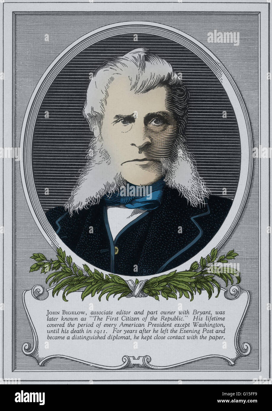 John Bigelow was associate editor and part owner of the New York Evening Post with William Cullen Bryant. Later - Stock Image