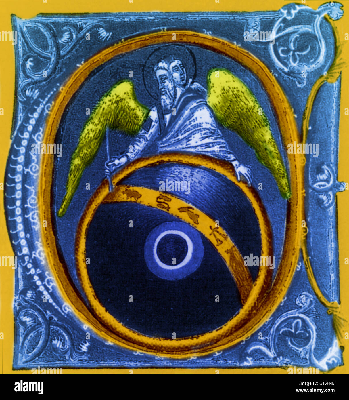 God painting the Zodiac signs: astrology was integrated within Christianity by the theory that God used the stars - Stock Image