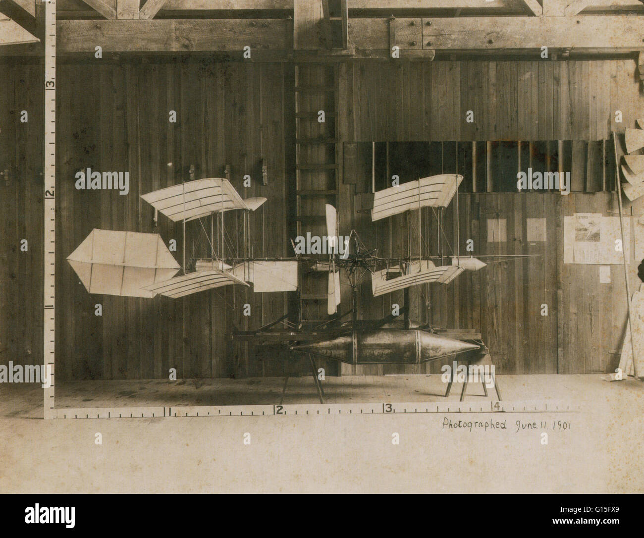 Silver print of a Langley Airplane Model, 1901. - Stock Image