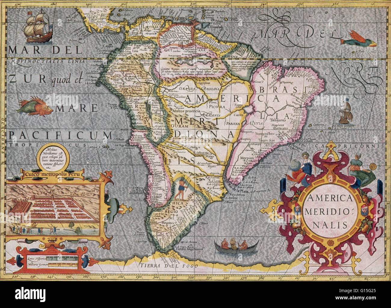 South American map from the Mercator-hondius Atlas, 1606 Stock Photo ...
