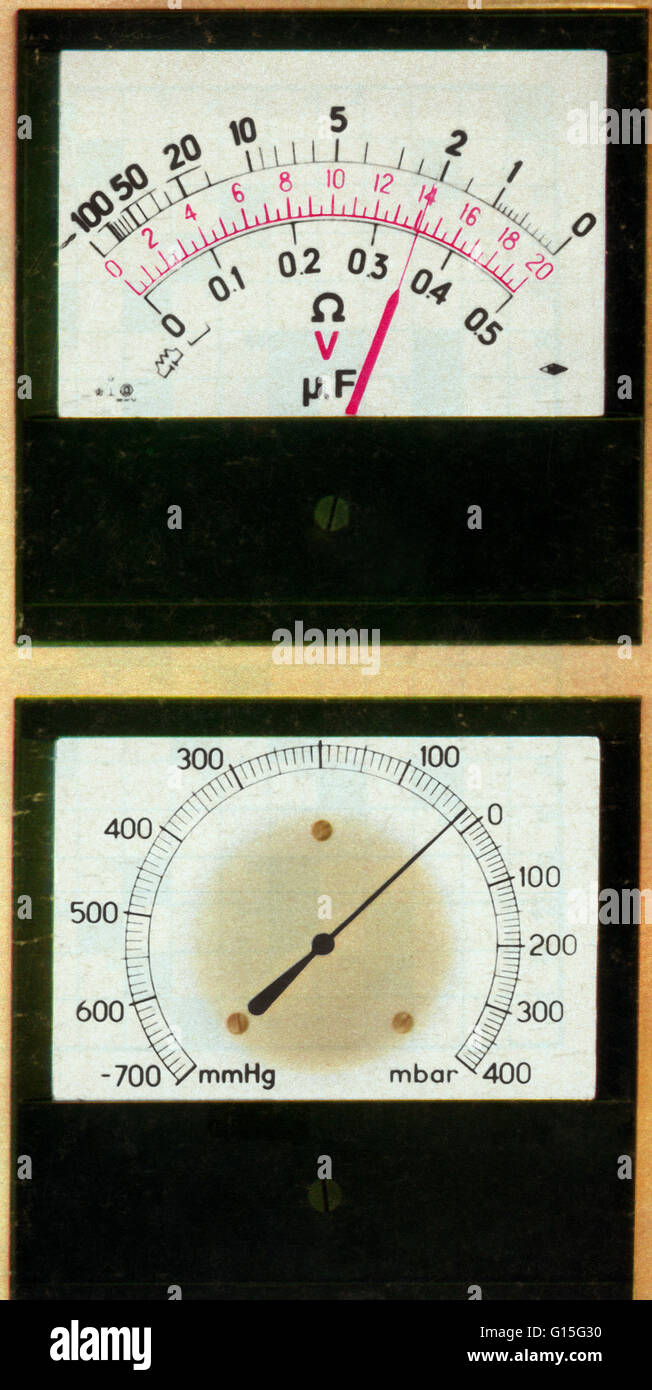 Meter guage showing level of Cylinders (top), and Revolutions Per Minute (bottom). - Stock Image