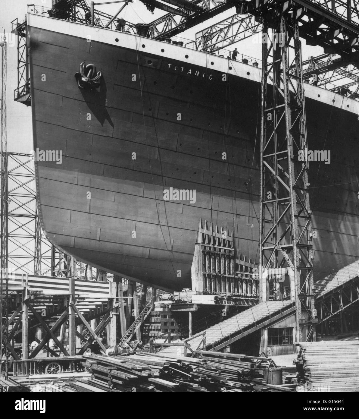 The famous Titanic steamship ready for launch from Belfast, 1911. - Stock Image