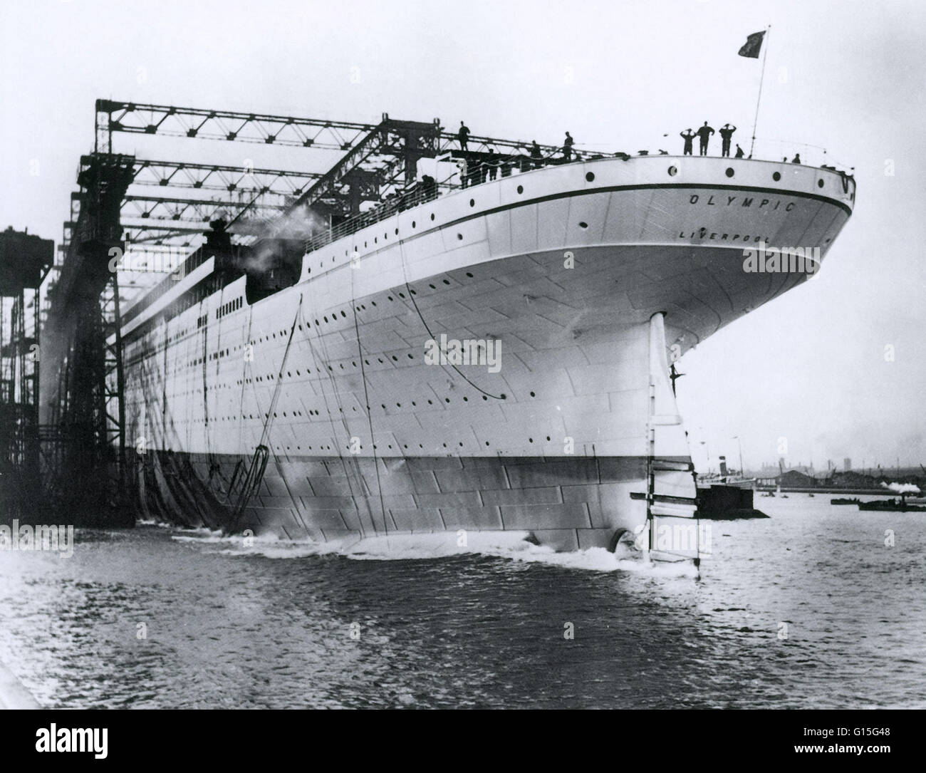 The RMS Olympic is ready for final preparations. This photograph is from October 20th, 1910, and the ship was completed - Stock Image