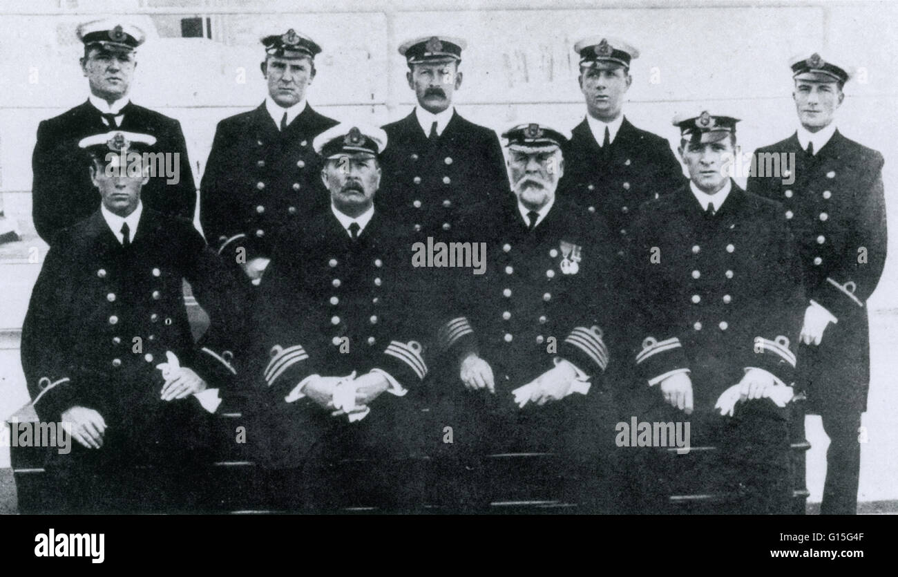 Captain Edward J Smith and his senior officers photographed on board Titanic, April 1912. Back row from Left to - Stock Image