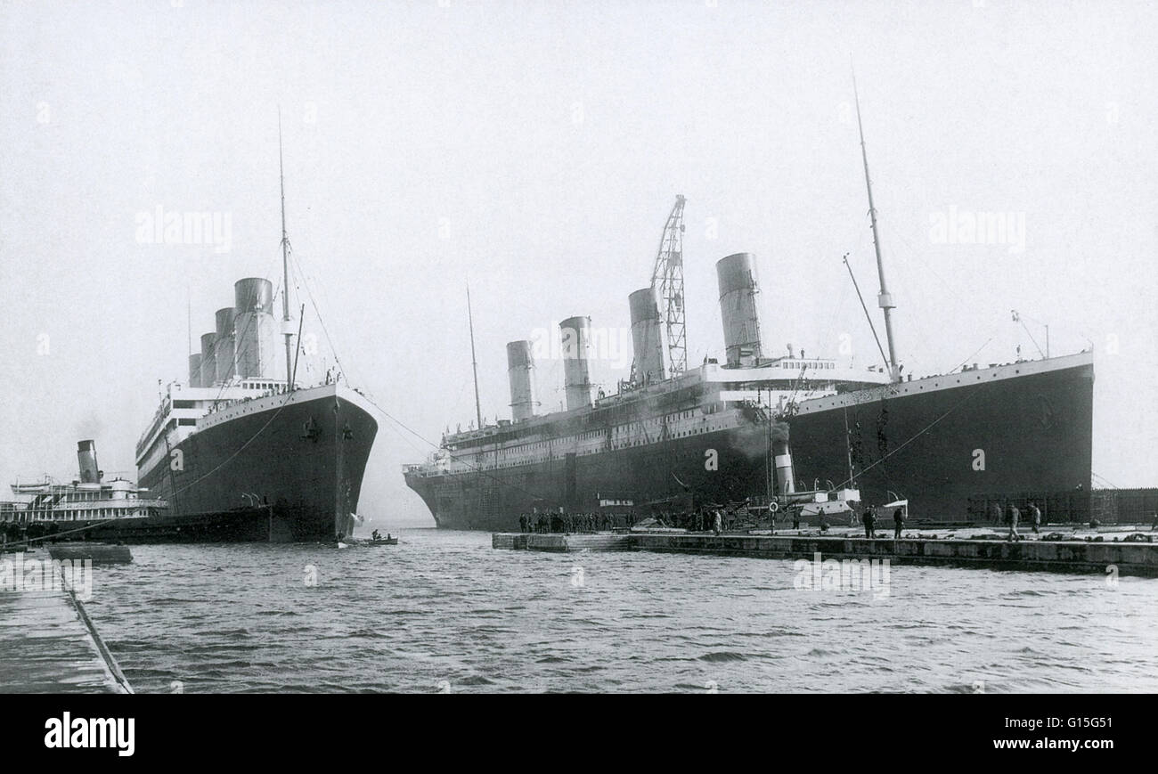 The Olympic and Titanic at Belfast, Ireland. The Olympic and Titanic were sisters and almost identical. While the - Stock Image