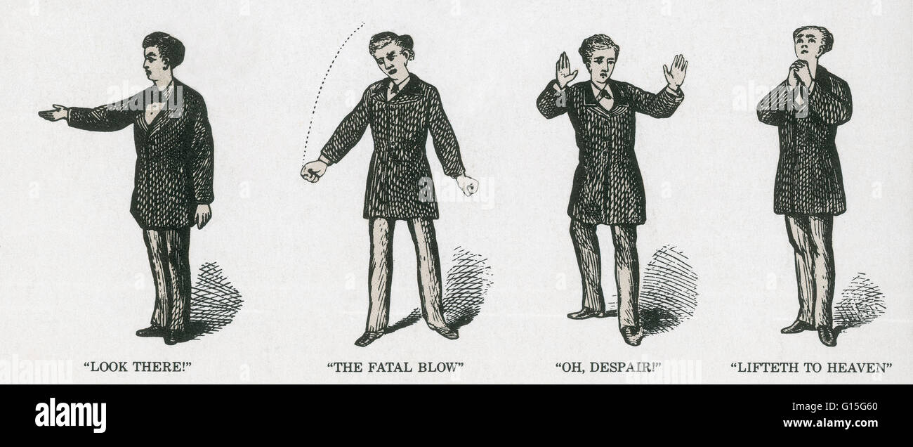A lesson from McGuffey's Schoolbook illustrating elocution. - Stock Image