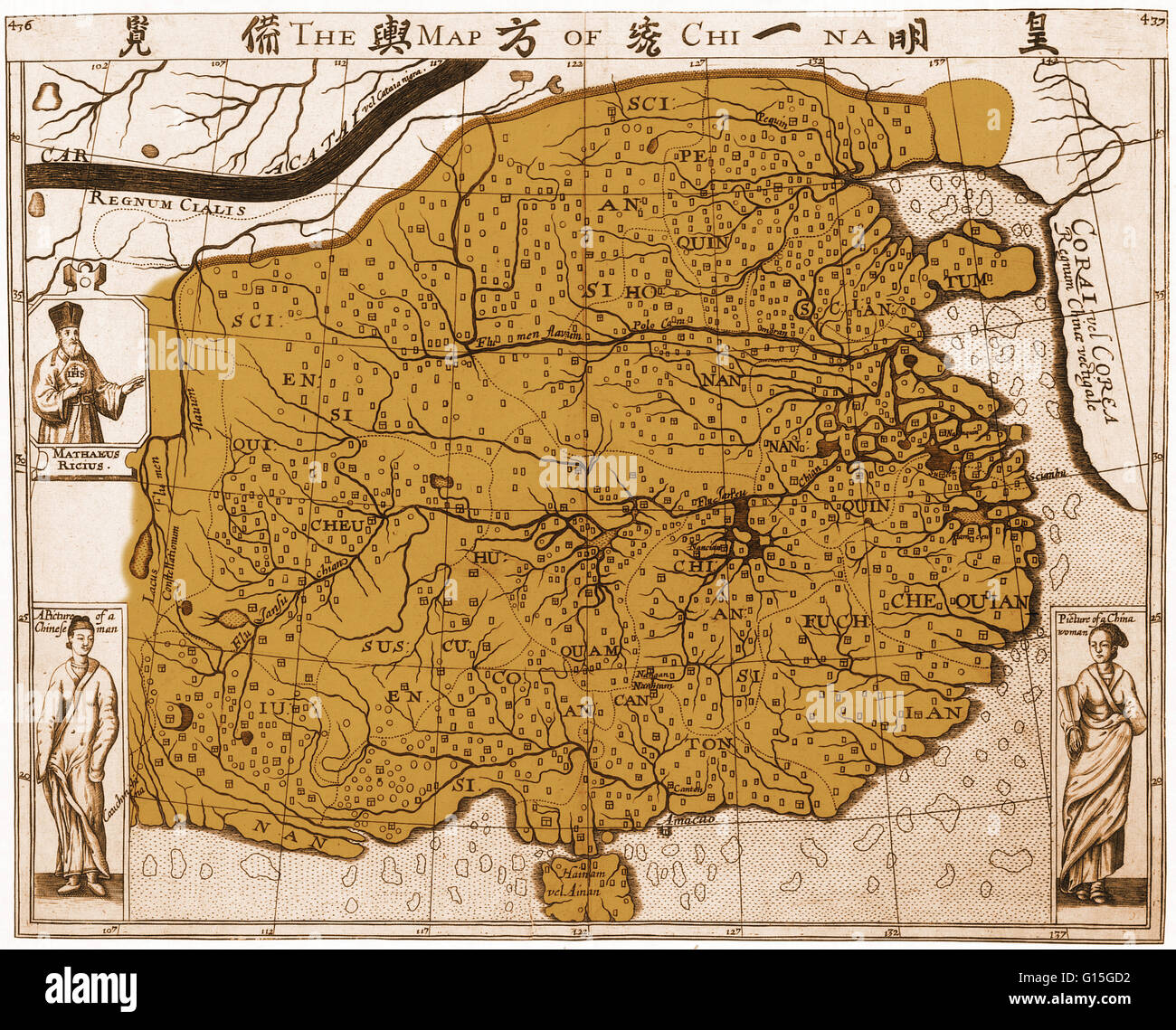 Jesuit china stock photos jesuit china stock images alamy a copperplate engraving of a map of china from 1625 made by travel writer gumiabroncs Images