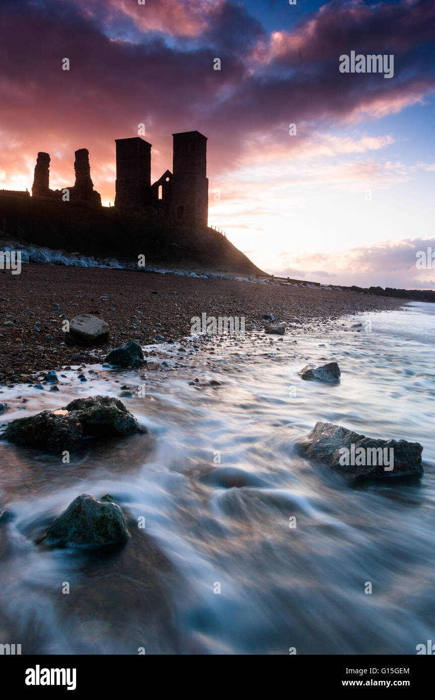 Sunset at Reculver Tower, Kent, England, United Kingdom, Europe Stock Photo