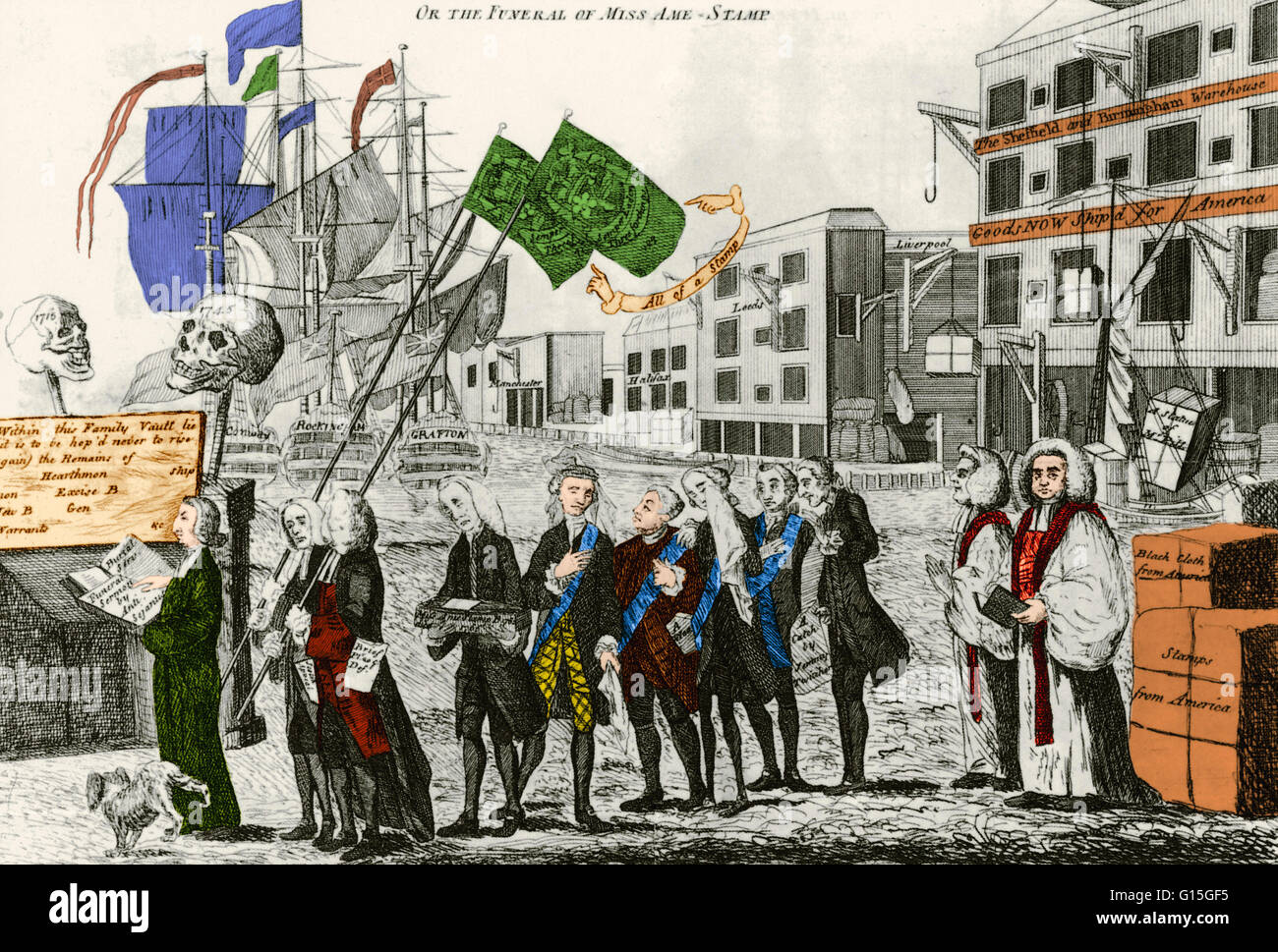 British cartoon titled 'The Repeal, or the Funeral of Miss Ame-Stamp' a 1766 engraving. The cartoon shows - Stock Image