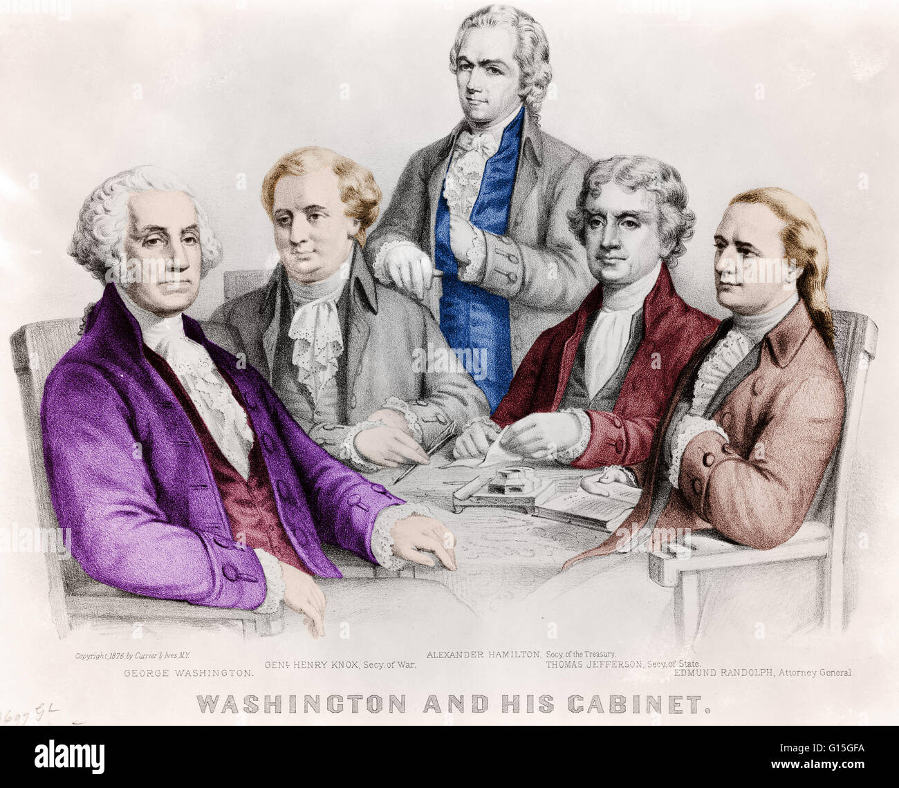 Color enhancement of A drawing of President George Washington and ...