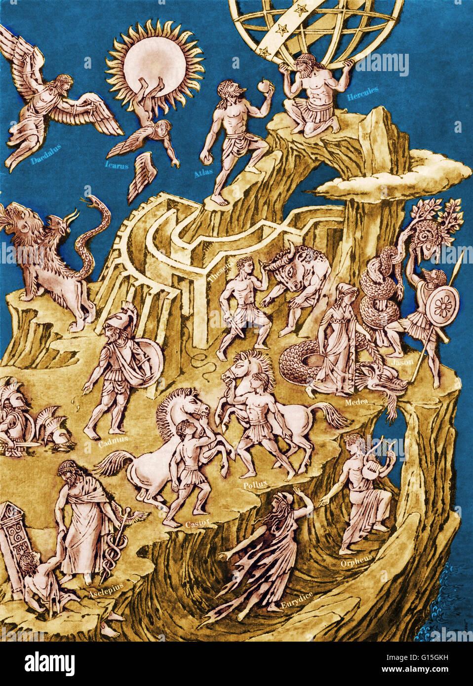 An illustration from Life Magazine (January 18, 1963) showing figures from Greek mythology, including Medea, Orpheus, - Stock Image