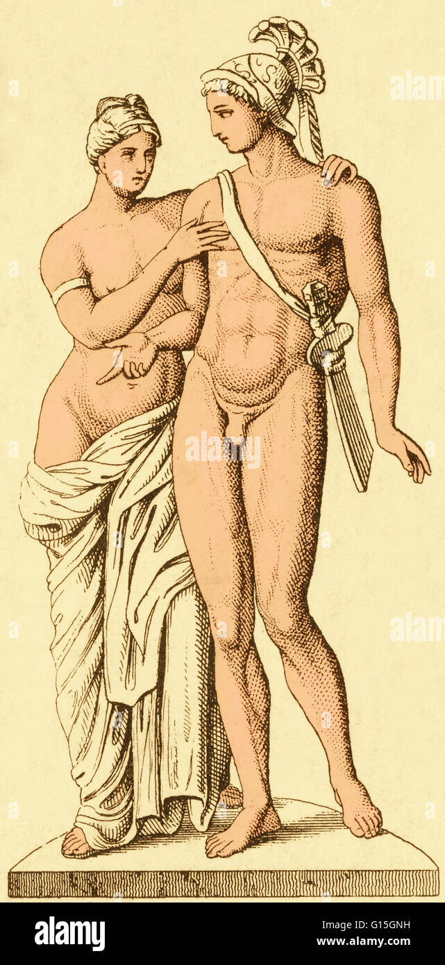 The Ancient Greek Mythical Figures Of Aphrodite And Ares Or