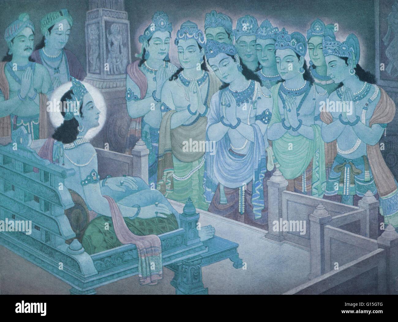 Gods entertaining Mahavira for propagation of Jainism. Mahavira was the founder of Jainism. He lived between 599 Stock Photo