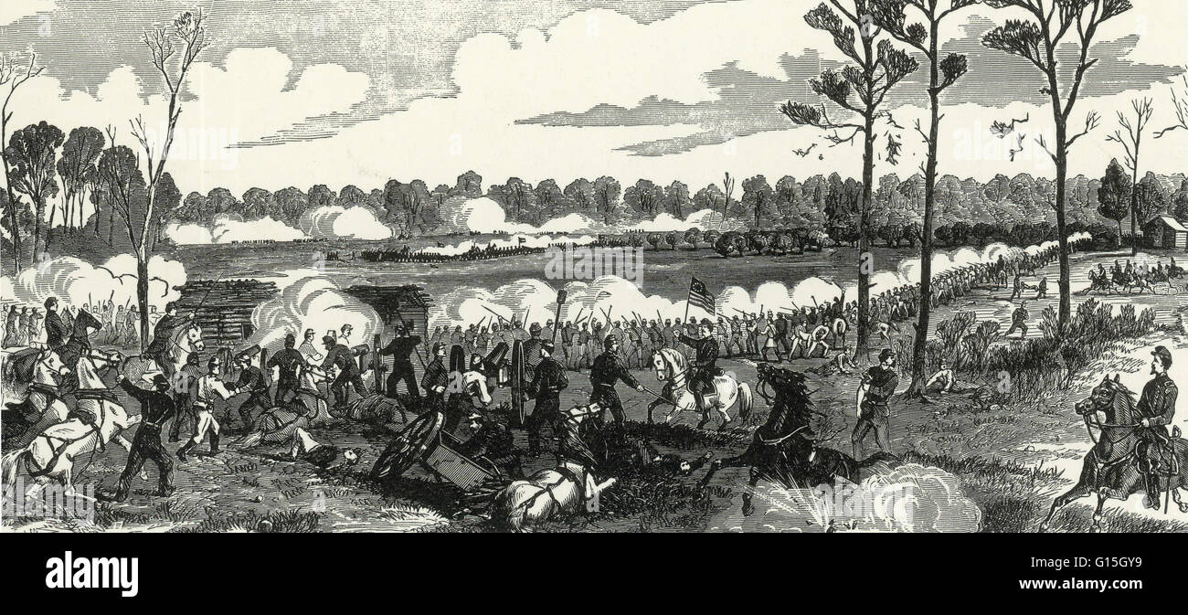 The caption reads: 'Repulsing the combined Confederate attack at the Peach Orchard, Shiloh, Tennessee, Sunday, - Stock Image