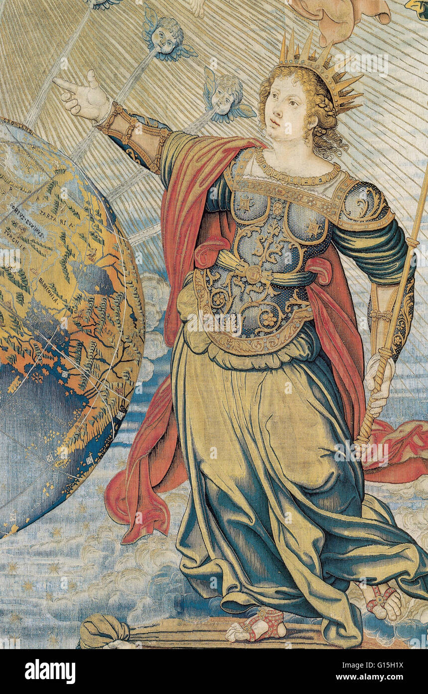Portion of a tapestry depicting the Roman goddess Juno; from Brussels, ca. 1500. - Stock Image