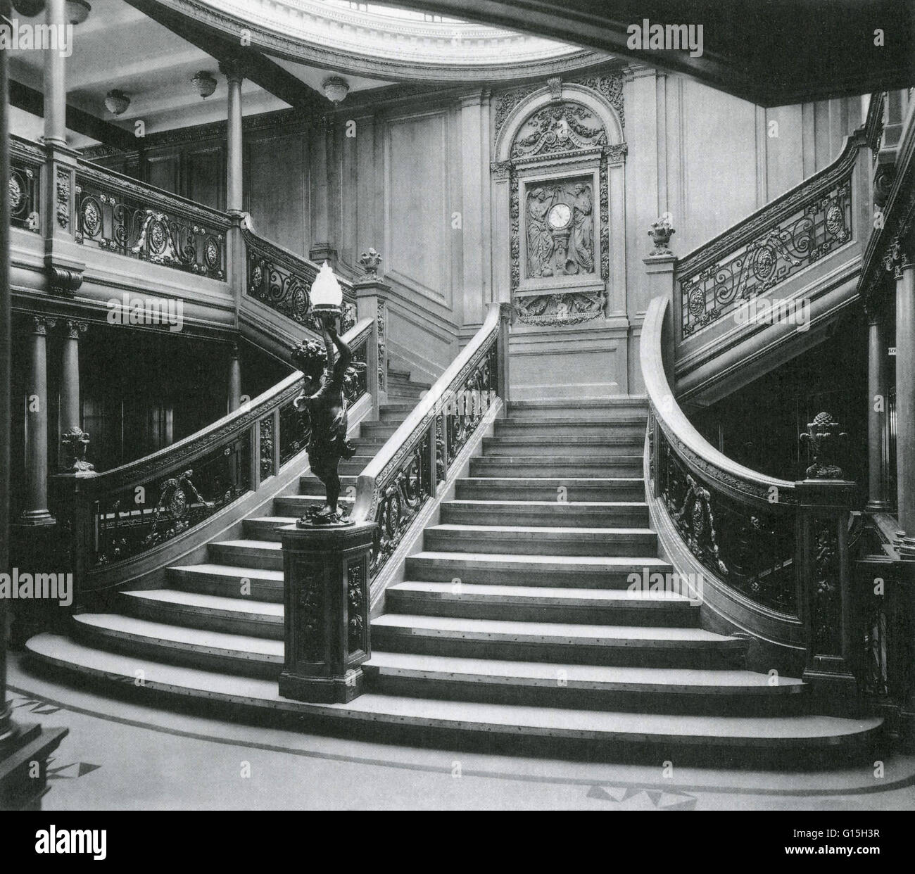 The Grand Staircase in 1912 of the famous Titanic ship. - Stock Image