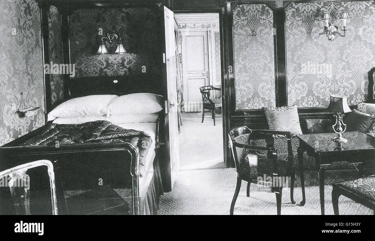 First class parlour Suite #B60 in the Titanic, 1912. This suite opened into a drawing room. - Stock Image