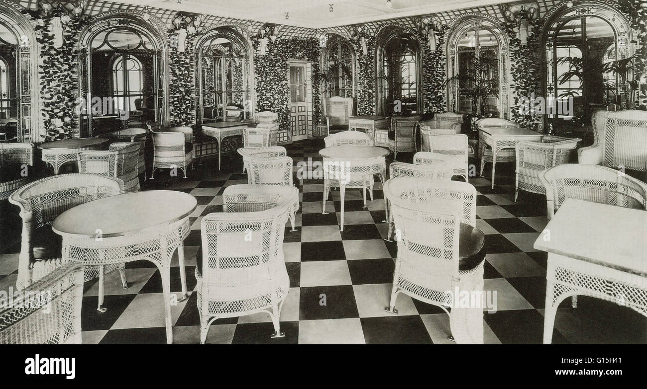 The Verandah Cafe in the Titanic ship, March 1912. Also known as the Verandah and Palm Court which were a pair of - Stock Image