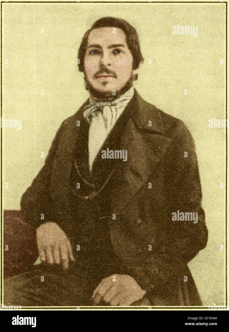 Color enhanced image of Friedrich Engels (1820-1895), a German philosopher and writer. The son of a textile manufacturer, - Stock Image