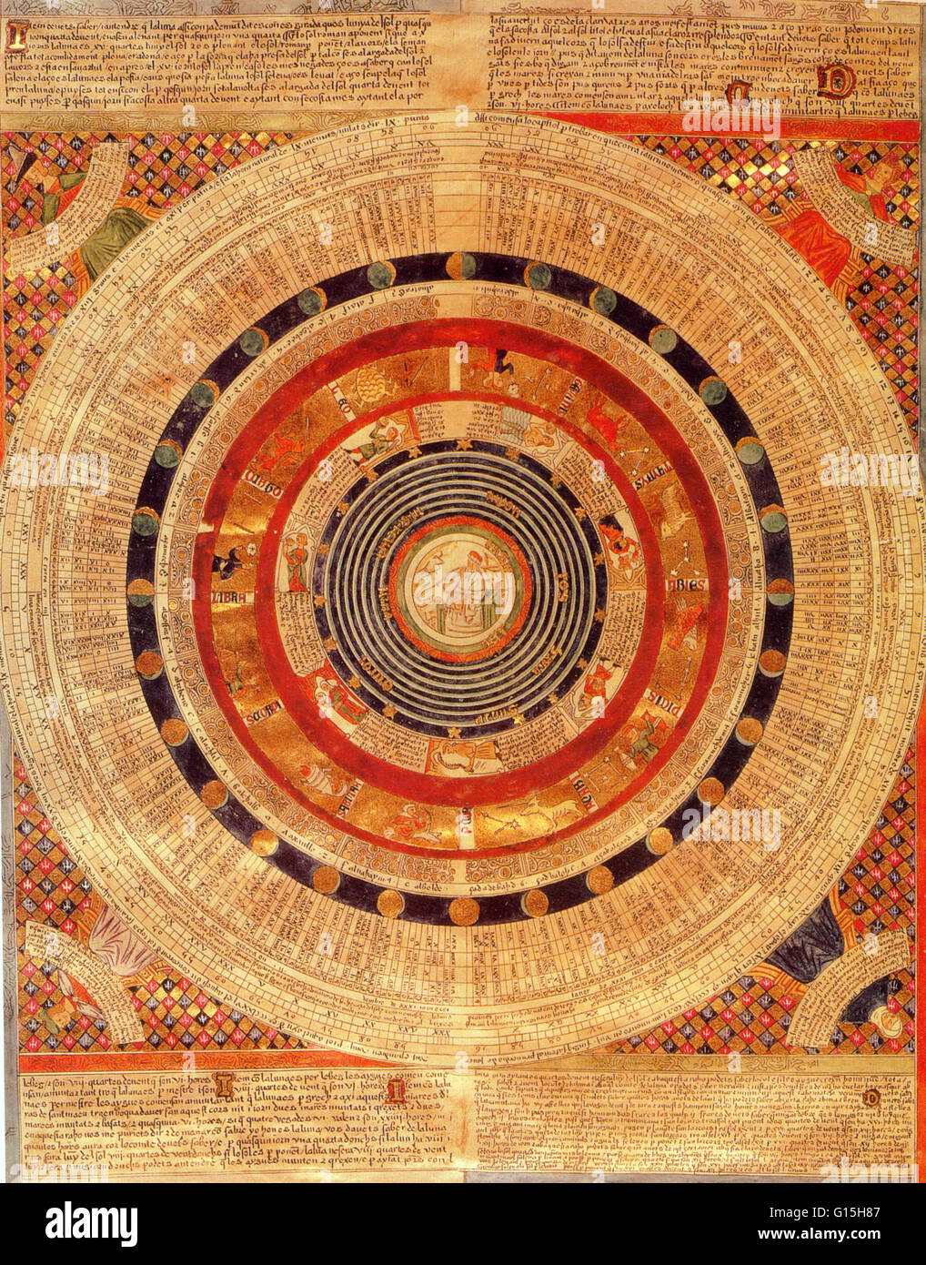 The Catalan Atlas, is the finest work to come from the Majorcan cartographic school of the fourteenth century. Most probably produced in 1375 the date that appears on the perpetual calendar shown here. It was produced by the Majorcan cartographic school a Stock Photo