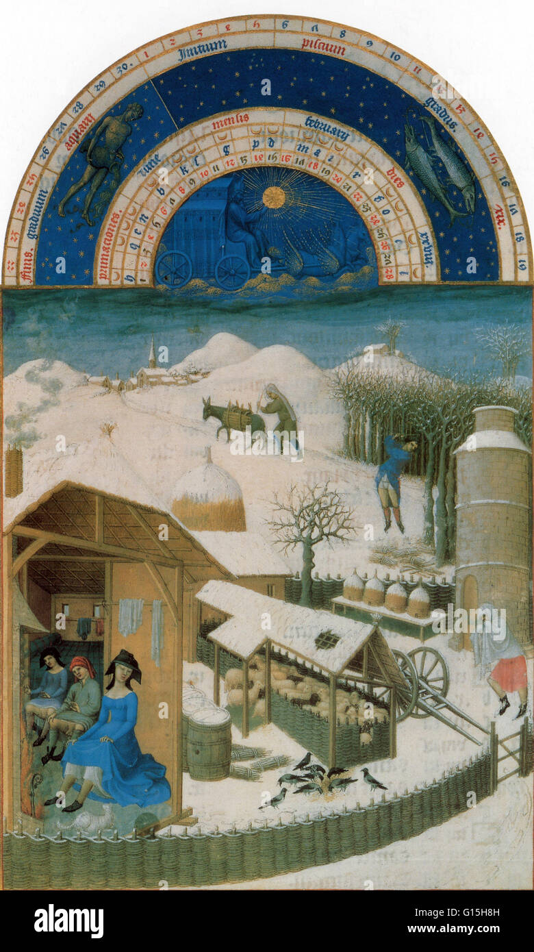The calendar page for February of Les Très Riches Heures du Duc de Berry, Shows February, with Aquarius passing - Stock Image