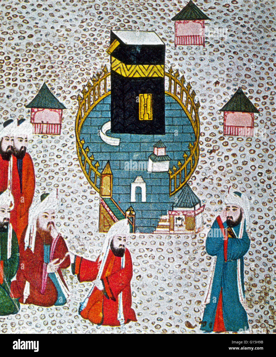 A Persian miniature taken from the Siyer-i Nebi is a Turkish epic about the life of Muhammad, completed around 1388. - Stock Image