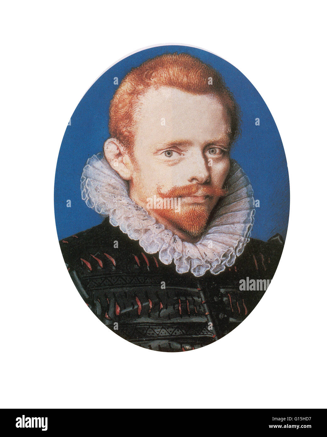 Portrait of Drake by Isaac Oliver. This is the only portrait of the circumnavigator to depict him with red hair. - Stock Image