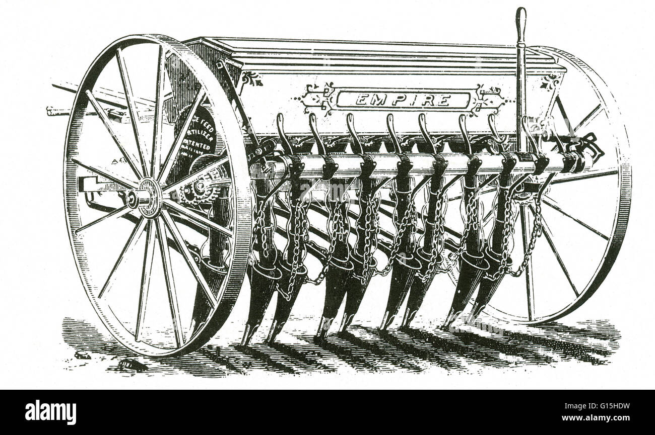 Empire grain drill from the late 19th century. - Stock Image