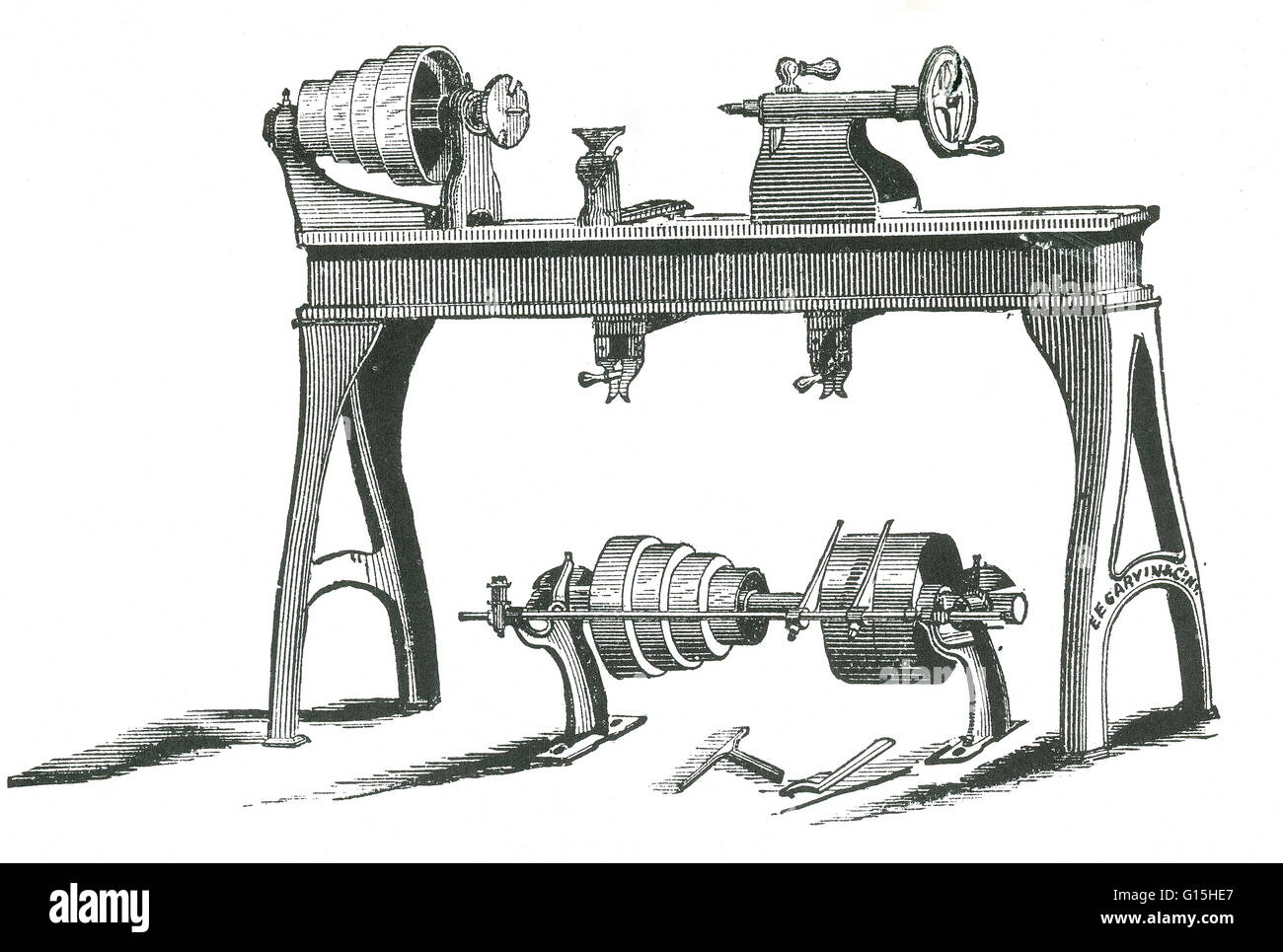 An early model of a hand lathe. A hand lathe is a machine tool that rotates the workpiece on its axis to perform - Stock Image