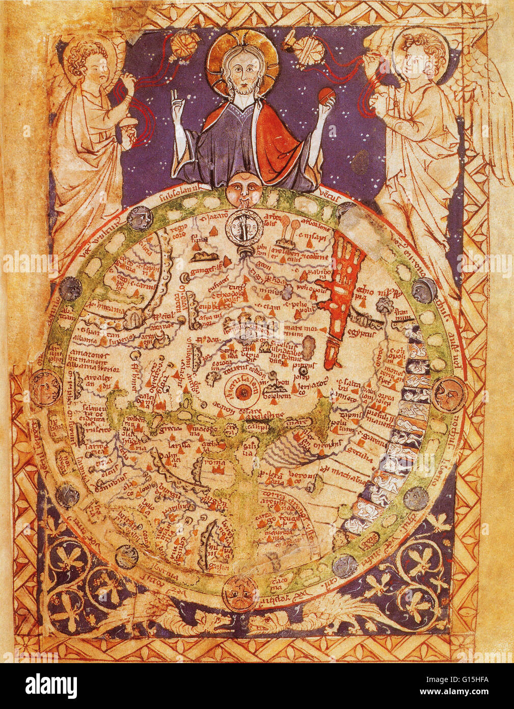 Psalter world map, created around 1250. This medieval world map