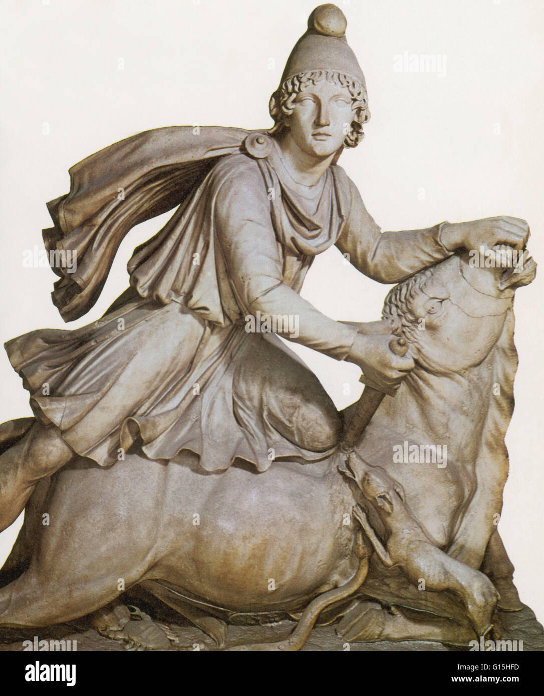 The god Mithras slaying the great bull. The spilling of the bull's blood was believed to bring about the rebirth - Stock Image